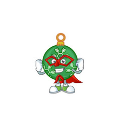 mascot super hero in green christmas ball vector image