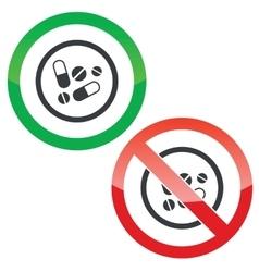 Medicine permission signs vector