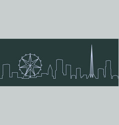 Melbourne single line skyline vector