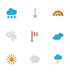 Meteorology flat icons set collection of snow vector