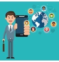 Mobile people cartoon design vector image