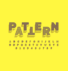 Modern font design with different patterns inside vector