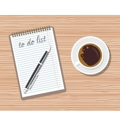 Office wooden desk Coffee and blank memo with pen vector