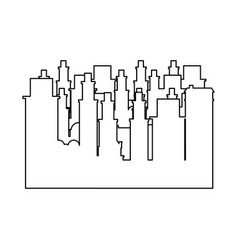 Outline frame cityscape scene icon flat vector
