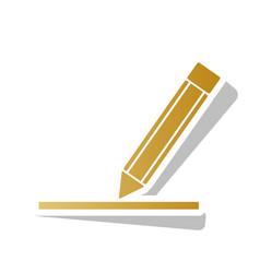 Pencil sign golden gradient vector