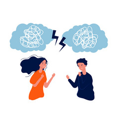 people fight man woman mental problem mess in vector image