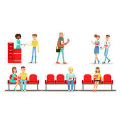 people in cinema set young men and women vector image