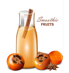 Persimmon fruits smoothie realistic fresh vector