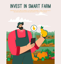 poster invest in smart farm concept vector image