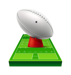 realistic rugby ground 3d leather ball vector image