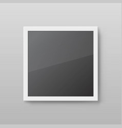 realistic square picture frame isolated on grey vector image