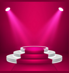Round stage podium with light stage backdrop vector