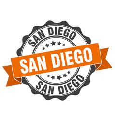 san diego round ribbon seal vector image
