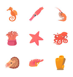Sea dweller icons set cartoon style vector