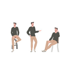 Set young man in different poses male cartoon vector