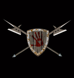 shield with two halberds vector image