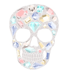 Skull with gemstones pattern vector image