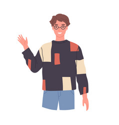 Smiling guy in glasses saying hello and waving vector