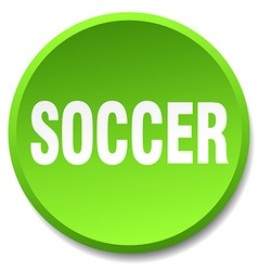soccer green round flat isolated push button vector image
