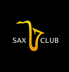 Style logo for sax club golden saxophone vector