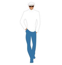 Stylish young man model walking smiling wearing vector