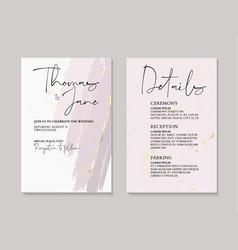 tender rose ink gold foil wedding cards vector image