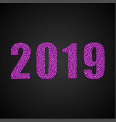 the number 2019 pink sequins new year sign vector image