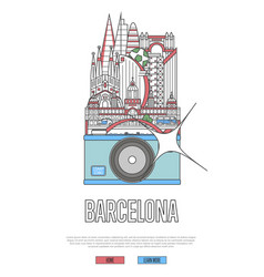 travel barcelona poster with camera vector image