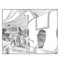 Trojan horse vintage vector