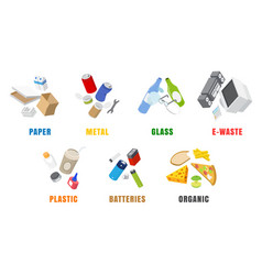 Types waste flat isolated vector