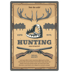 Vintage poster of hunting equipment vector