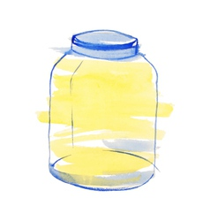 Watercolor blue and yellow jar vector image