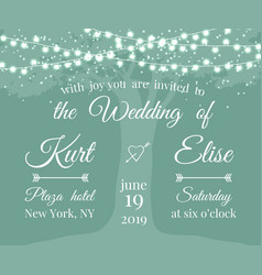Wedding invitation with tree and light garlands vector