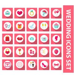 wedding set icons design elements flat style vector image