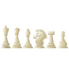 White chess pieces in a row vector