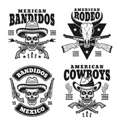 wild west set of monochrome emblems vector image