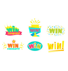 win congrats colorful congratulation labels vector image
