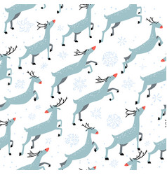 Winter seamleaa pattern with cute jumping deers vector