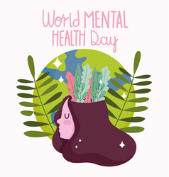 World mental health day girl with leaves in head vector