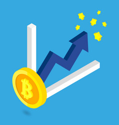 bitcoin golden growth with blue arrow and chart vector image