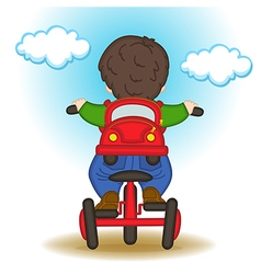 boy with backpack in form of car rides bicycle vector image vector image