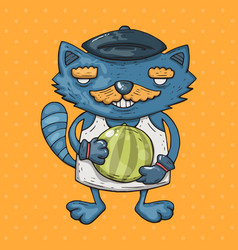 cartoon cat with a mustache holds a watermelon vector image vector image