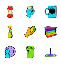 cleaner icons set cartoon style vector image vector image