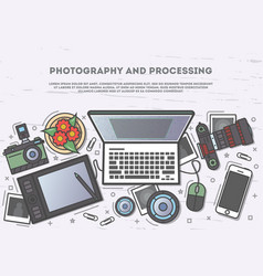 photography and processing top view banner vector image