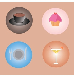 set of drinks and food vector image vector image