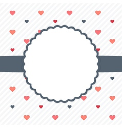 White and blue template card with hearts vector image vector image