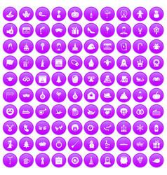 100 holidays icons set purple vector image