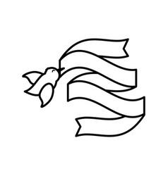 bird ribbon romance image outline vector image