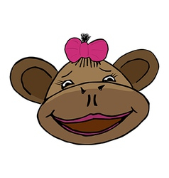 cartoon style monkey head vector image