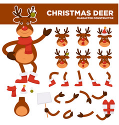 christmas deer cartoon character constructor vector image